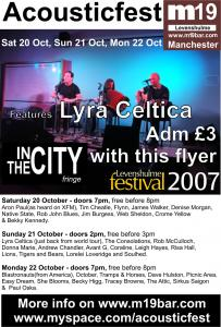 Lyra Celtica radio promotion and M19 Bar Showcase